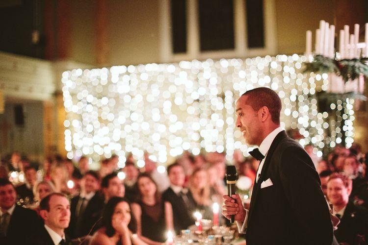 Wedding Speeches with Fairy Light Backdrop