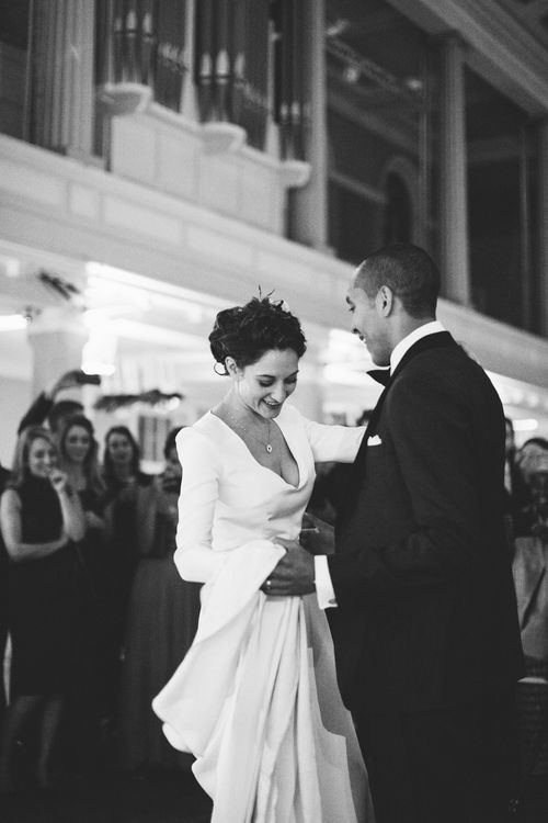 First Dance with Bride in Charlotte Simpson Wedding Dress & Groom in Tuxedo