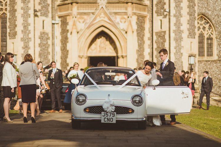 White Figaro Wedding Car   Catholic Church Ceremony at Sacred Heart in Wimbledon   Matt Penberthy Photography