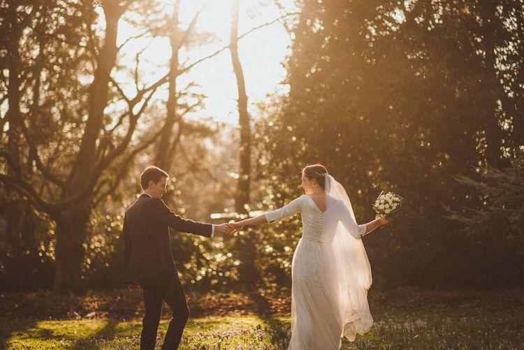 Sunset Portrait   Bride in JLM Couture Ti-Adora Wedding Dress   Groom in Moss Bros Suit   Matt Penberthy Photography