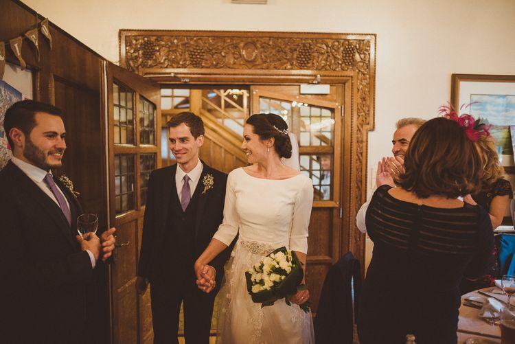 Bride in JLM Couture Ti-Adora Wedding Dress   Groom in Moss Bros Suit   Matt Penberthy Photography
