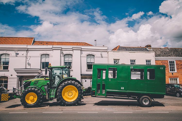 Tractor Wedding Transport | Classic Marquee Wedding at Kimberley Hall in Norfolk | Story + Colour Photography | Driftend Films