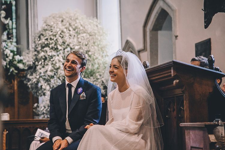 Church Wedding Ceremony | Bride in Polka Dot Tulle Eponine London Gown | Groom in Charlie Casey Hayford Suit | Classic Marquee Wedding at Kimberley Hall in Norfolk | Story + Colour Photography | Driftend Films