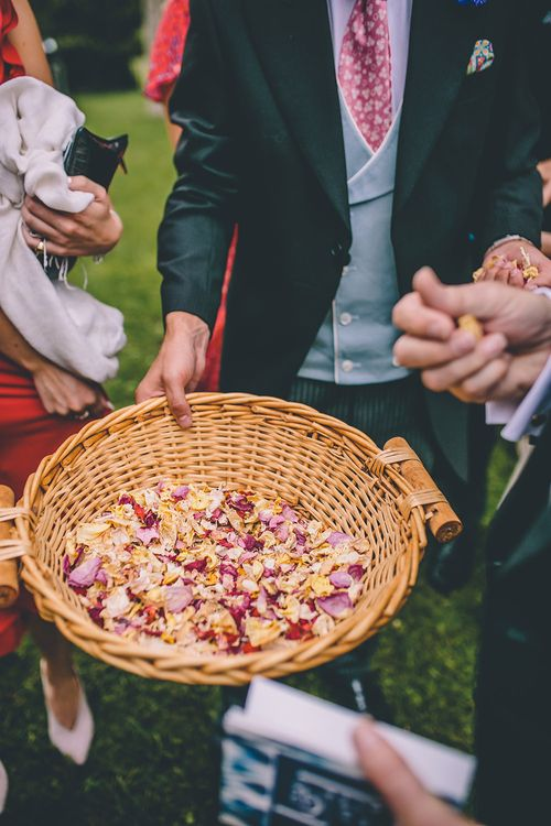 Confetti Basket | Church Wedding Ceremony | Classic Marquee Wedding at Kimberley Hall in Norfolk | Story + Colour Photography | Driftend Films