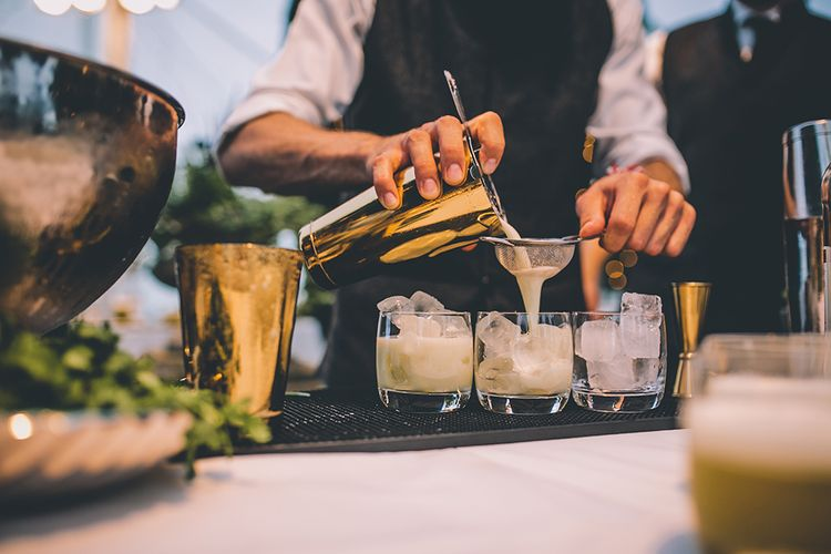 Rum Runner Wedding Cocktails | Classic Marquee Wedding at Kimberley Hall in Norfolk | Story + Colour Photography | Driftend Films