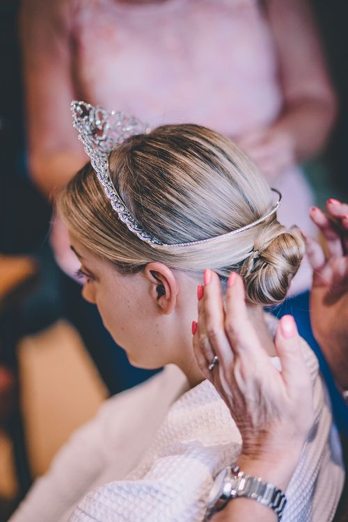 Bridal Up Do with Tiara | Classic Marquee Wedding at Kimberley Hall in Norfolk | Story + Colour Photography | Driftend Films