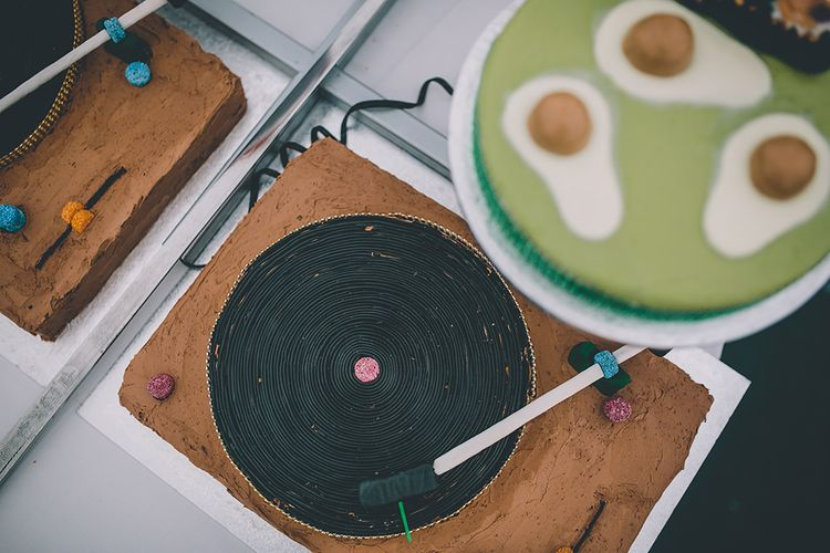 Homemade DJ Decks Wedding Cake | Classic Marquee Wedding at Kimberley Hall in Norfolk | Story + Colour Photography | Driftend Films