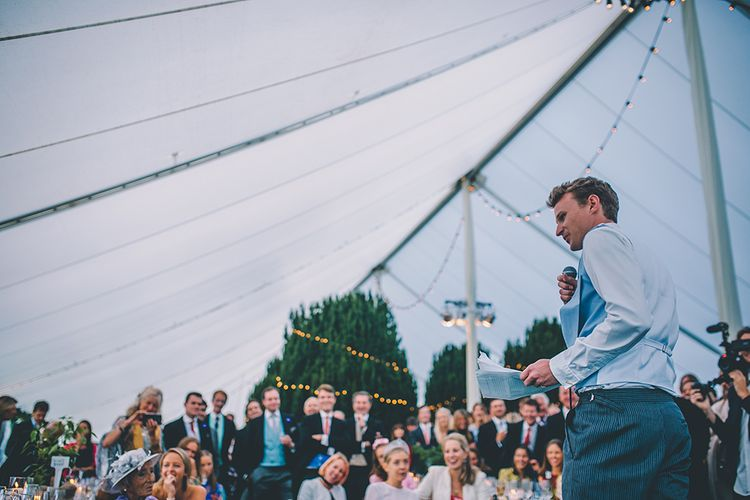 Speeches | Classic Marquee Reception with Greenery & Fairy Light Decor at Kimberley Hall in Norfolk | Story + Colour Photography | Driftend Films