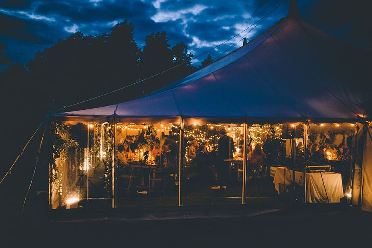 Classic Marquee Reception with Greenery & Fairy Light Decor at Kimberley Hall in Norfolk | Story + Colour Photography | Driftend Films