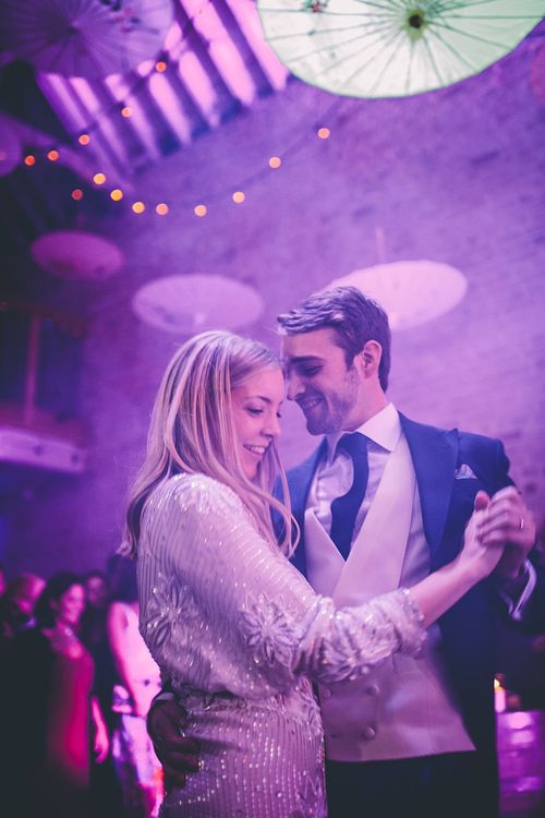 First Dance | Bride in Polka Dot Tulle Eponine London Gown | Groom in Charlie Casey Hayford Suit | Underground Disco at Kimberley Hall in Norfolk | Story + Colour Photography | Driftend Films