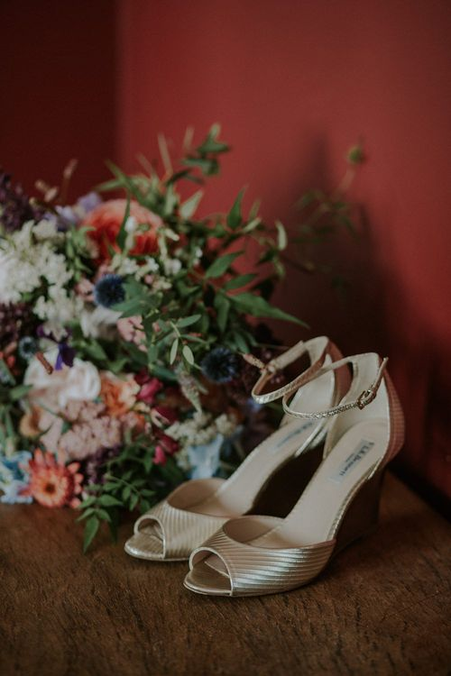Colourful Wild Flower Bouquet by Joanne Truby & Gold L.K. Bennett Shoes | Lola Rose Photography