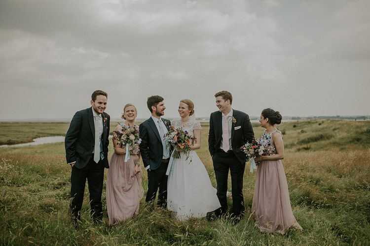Wedding Party | Bride in Alice Temperley Gown | Bridesmaids in Beaded Blush ASOS Dresses | Groomsmen in Edit Suits Co | Lola Rose Photography
