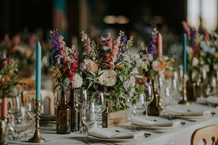 Colourful Wild Flower Crate Centrepiece by Joanne Truby | Elmley Nature Reserve Wedding | Lola Rose Photography