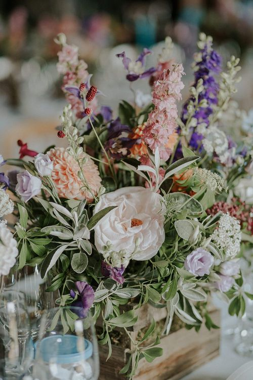 Colourful Wild Flower Arrangement by Joanne Truby | Elmley Nature Reserve Wedding | Lola Rose Photography