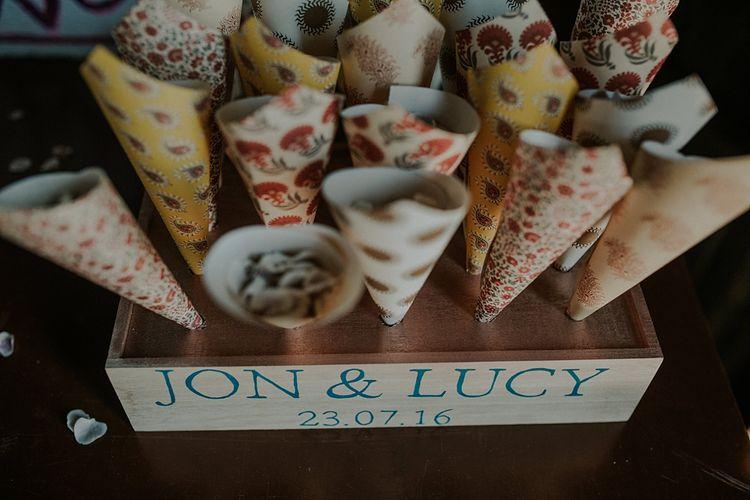 Confetti Cone Wedding Decor | Wedding Decor | Elmley Nature Reserve Wedding | Lola Rose Photography