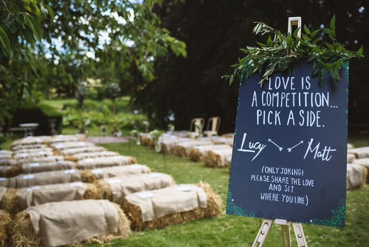 Outdoor Wedding Ceremony with Seating Sign