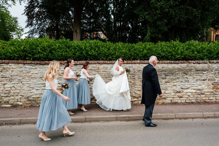 Bridesmaids in Blue Tulle Skirts