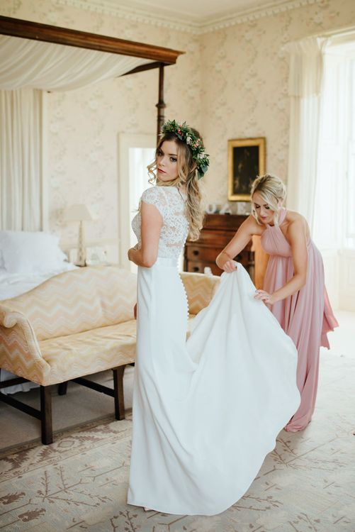 Getting Ready | Bride in Bespoke Suzanne Neville Scarlett Bridal Gown & Bridesmaids in Pink Twobirds Dress | The Lou's Photography