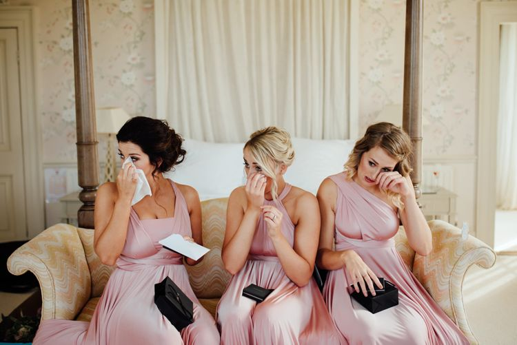Thank-you Gifts | Bridesmaids in Pink Twobirds Dresses | The Lou's Photography