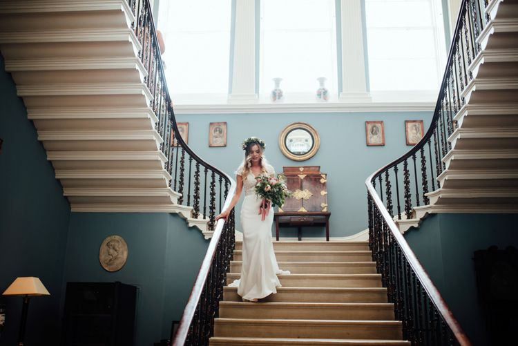Bride in Bespoke Suzanne Neville Scarlett Bridal Gown | Protea Bouquet & Flower Crown | The Lou's Photography