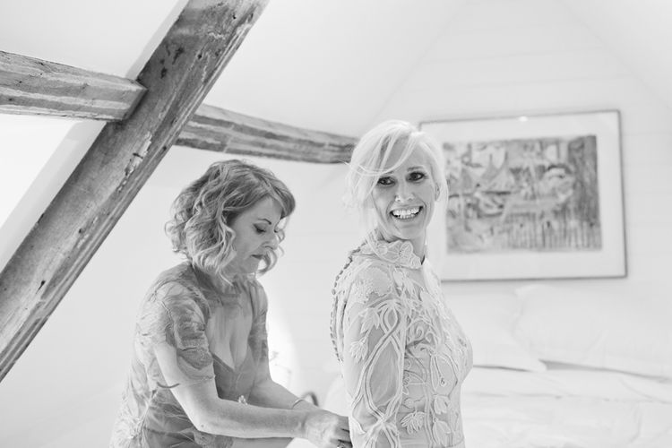 Getting Ready | Bride in Bespoke Grey Lace Hermione De Paula Gown | Cotton Candy Photography