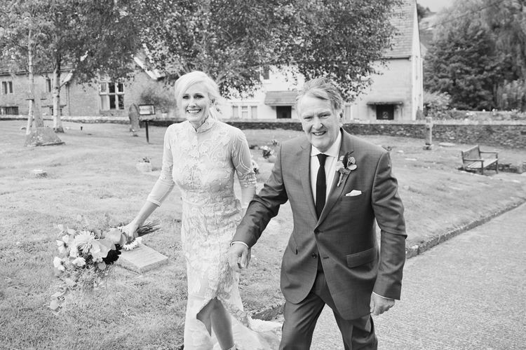 Bride in Bespoke Grey Lace Hermione De Paula Gown | Cotton Candy Photography