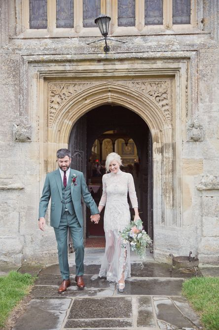 Bride in Bespoke Grey Lace Hermione De Paula Gown | Groom in Mark Powell Suit | Cotton Candy Photography