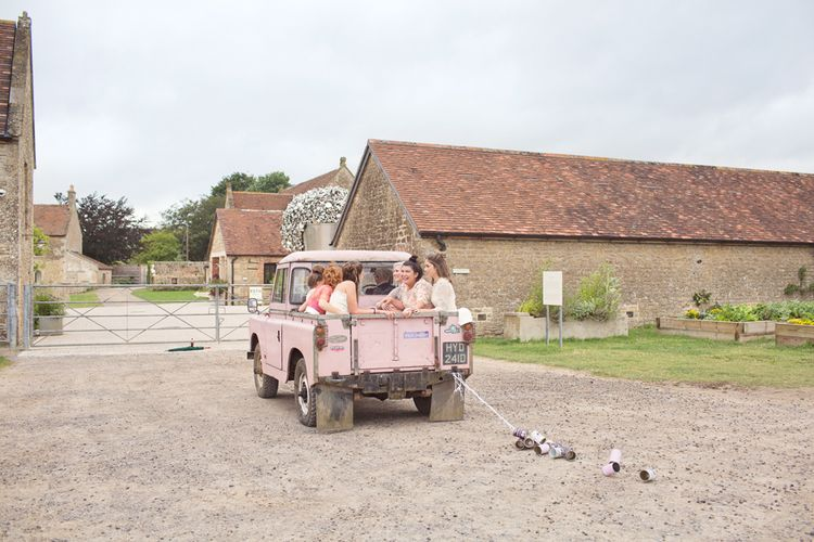 Pink Land Rover Wedding Transport | Cotton Candy Photography