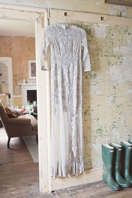 Bespoke Grey Lace Hermione De Paula Gown | Cotton Candy Photography