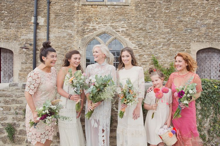 Mis-Match Bridesmaid Dresses | Bride in Bespoke Grey Lace Hermione De Paula Gown | Cotton Candy Photography