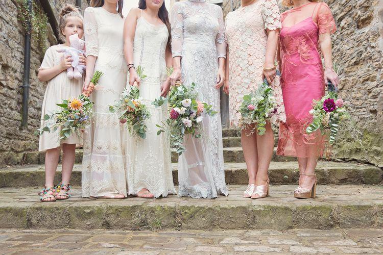 Wild Flower Bouquets | Mis-Match Bridesmaid Dresses | Bride in Bespoke Grey Lace Hermione De Paula Gown | Cotton Candy Photography
