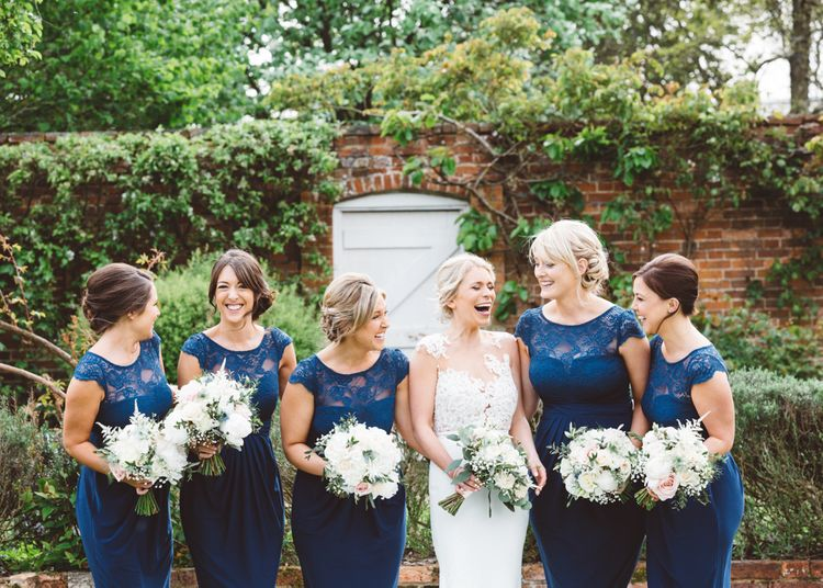 Bridesmaids In Navy Dresses
