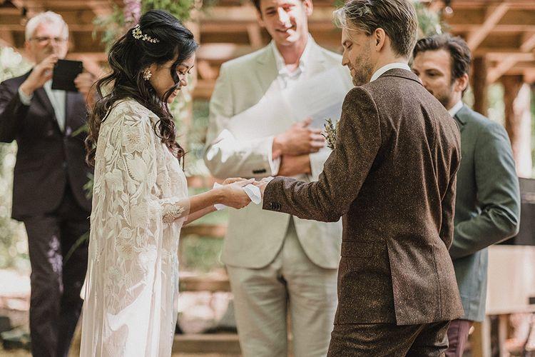Woodland Wedding With Bride In Hermione De Paula & Reformation Silk Evening Dress With Groom In Tweed Hugo Boss & Images By Jason Mark Harris