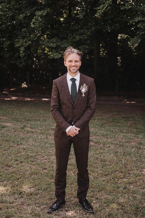 Groom In Tweed Suit By Hugo Boss