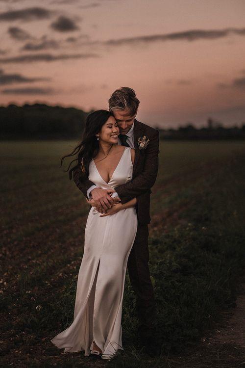 Bride In Reformation Wedding Dress