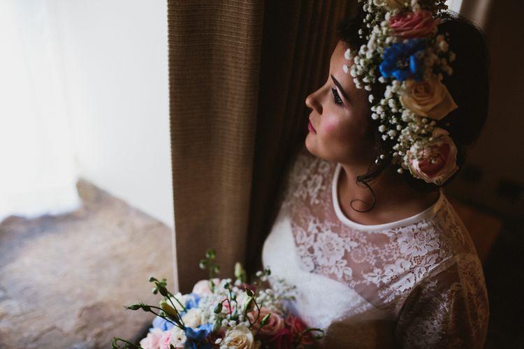 Bride in Bespoke Something Blue Tea Length Wedding Dress | Pastel Flower Crown & Bouquet | Ally M Photography