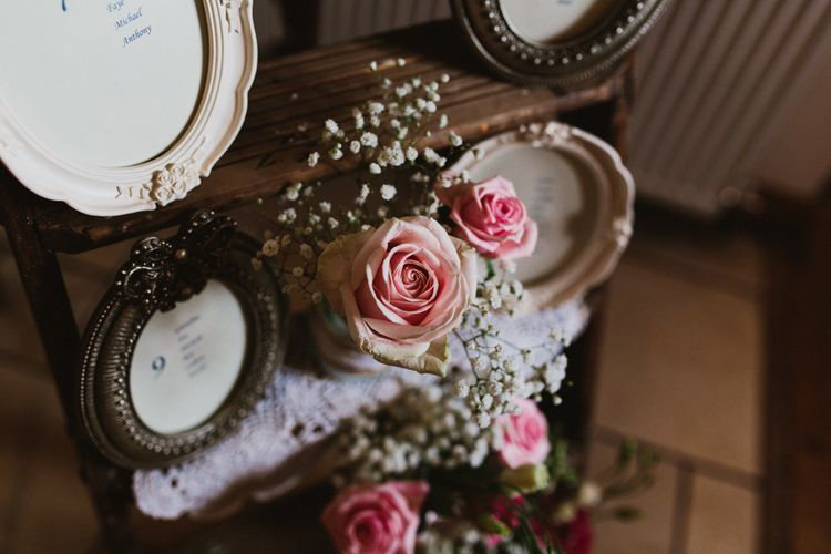 Vintage Pink Roses, Step Ladder Table Plan with Ornate Frames & Doily Decor | Ally M Photography