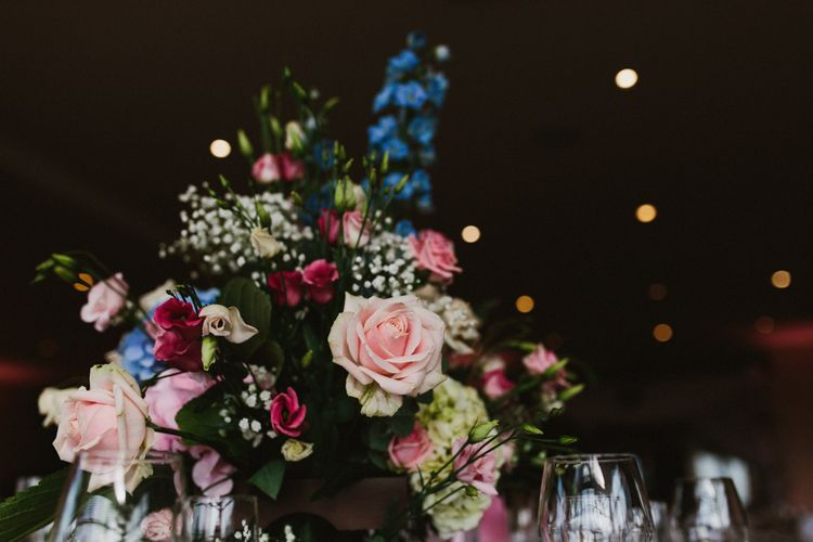 Pastel Wedding Flower Centrepiece | Step Ladder Table Plan with Ornate Frames & Doily Decor | Ally M Photography