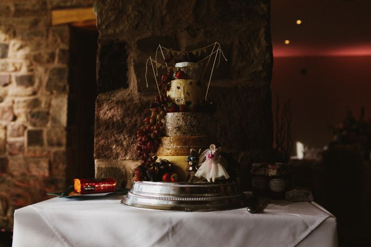 Cheese Tower Wedding Cake | Step Ladder Table Plan with Ornate Frames & Doily Decor | Ally M Photography