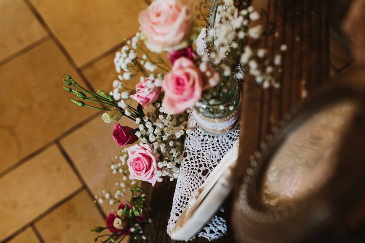 Vintage Step Ladder Table Plan with Ornate Frames & Doily Decor | Ally M Photography