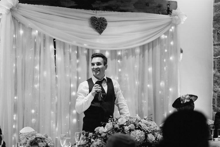 Fairy Lights Curtain | Wedding Speeches | Vintage Pastel Wedding at Beeston Manor, Lancashire | Ally M Photography