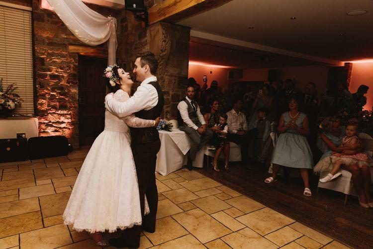 First Dance | Bride in Bespoke Something Blue Tea Length Wedding Dress | Pastel Flower Crown & Bouquet | Groom in Brown Tweet Suit | Ally M Photography