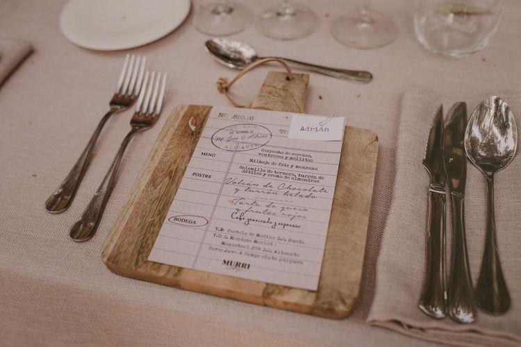 Rustic Menu Board For Wedding