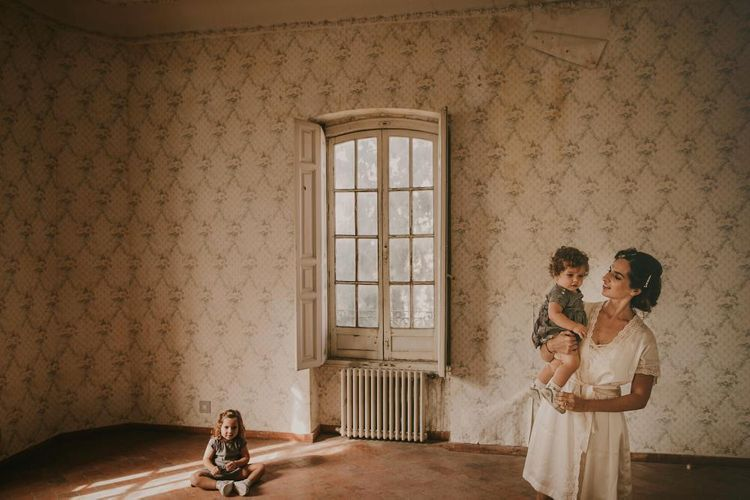 Bride With Daughters On Wedding Day