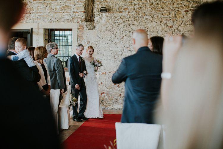 Bridal Entrance   Bride in David's Bridal Wedding Dress   Intimate Love Memories Photography