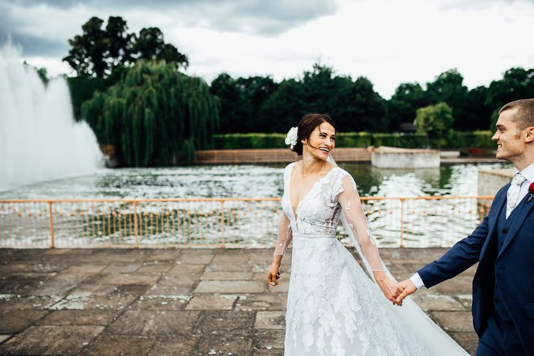 Bride wears Brasilia dress by Cymbeline. Photography by Beatrici Photography