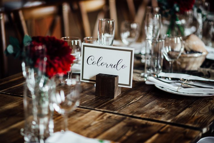 Stunning Wedding Table Settings. Table names.