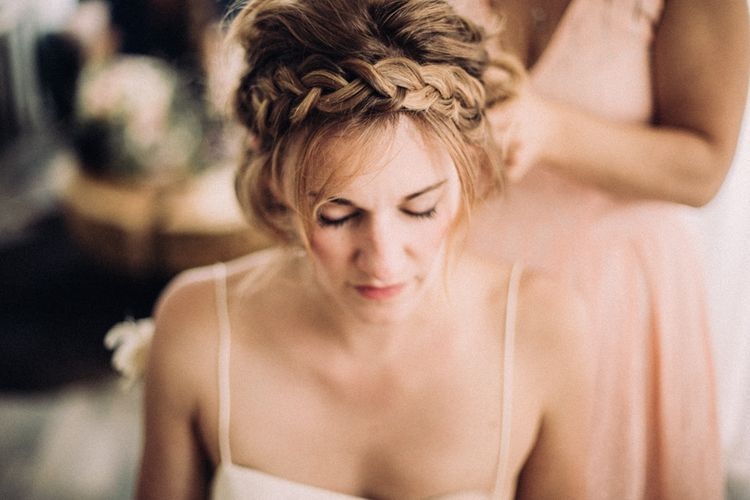 Halo Braid For Bride // Rime Arodaky Bride For A Stylish Artistic & Bohemian French Wedding At La Dime De Giverny France With Images From Paris Wedding Photographer Juli Etta