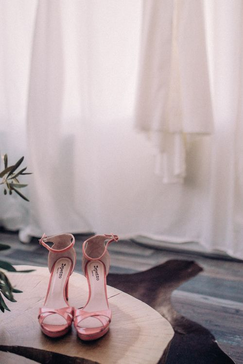 Pink Wedding Shoes // Rime Arodaky Bride For A Stylish Artistic & Bohemian French Wedding At La Dime De Giverny France With Images From Paris Wedding Photographer Juli Etta