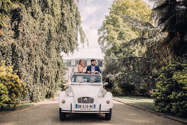 Vintage Citroen Wedding Car // Rime Arodaky Bride For A Stylish Artistic & Bohemian French Wedding At La Dime De Giverny France With Images From Paris Wedding Photographer Juli Etta